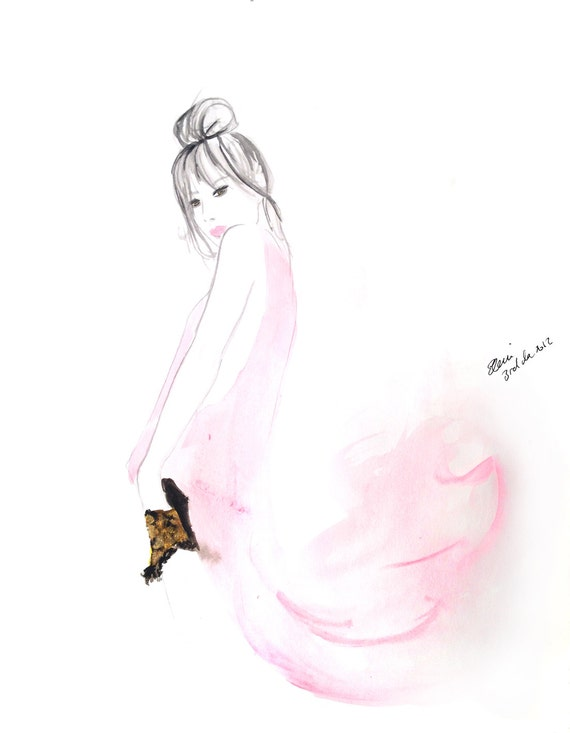Watercolour and Gold Dust fashion illustration Titled Fade to Pink