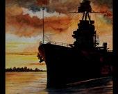 Texas Battleship at Sunset