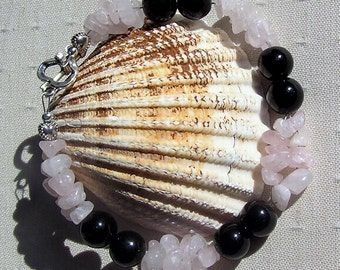 """Black Onyx & Rose Quartz Crystal Gemstone Bracelet """"Juno"""", Special Offer, Pink Bracelet, Black Bracelet, Chakra Bracelet, Quartz Bracelet"""