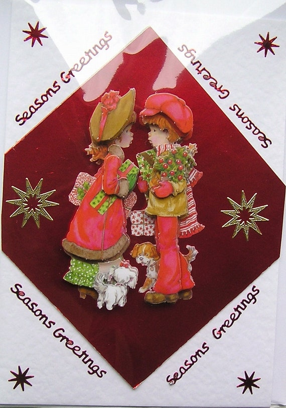 Christmas Hand-Crafted 3D Decoupage Card - Seasons Greetings (1505)