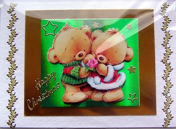 Christmas Card - Happy Christmas Hand-Crafted 3D Decoupage Card - Happy Christmas (1360)