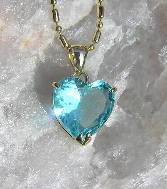 Swiss Blue Topaz Solitaire Heart Pendant - Vintage