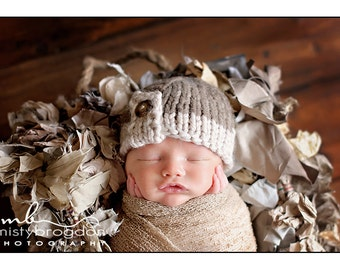 Hand Knit Baby Hat, Button Tab, Brown, Knitted Newborn Photo Prop, Infant Cap, 5 Colors to Choose From, Beanie