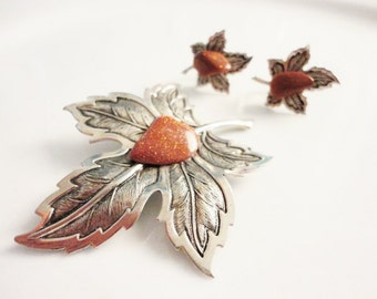 set vintage  brooch and earrings leaves with goldstone sun sitara and silver tone