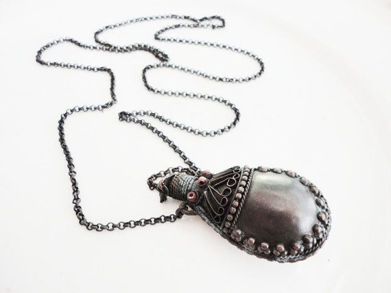vintage gypsy style perfume bottle poison bottle necklace with long chain