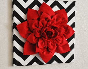 "Red Wall Flower -Red Dahlia on Black and White Chevron 12 x12"" Canvas Wall Art- Baby Nursery Wall Decor-"