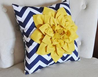 Mellow Yellow Dahlia on Navy and White Zigzag Pillow -Chevron Pillow-
