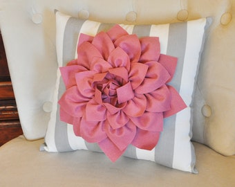 Decorative Pillow Blush Dahlia on Gray and White Stripe Pillow -NEW COLOR-