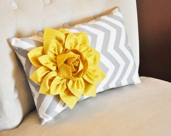 Chevron Lumbar Pillow - Mellow Yellow Dahlia on Gray and White Zig Zag Lumbar Pillow 9 x 16