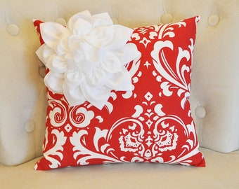 Red Damask Pillow with White Dahlia Snowflake Flower
