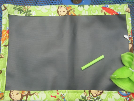 Monkey Chalk Mat, travel toy chalk board, roll-up chalk mat