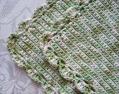 Crocheted Washcloths - Dishcloths-Set Of Two - Crochet Green Washcloths - Cotton Dishcloths
