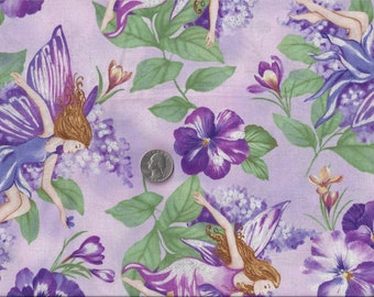 Pansy Faerie Sparkle Glitter I Spy Purple Fairy Fabric By the Fat Quarter BTFQ