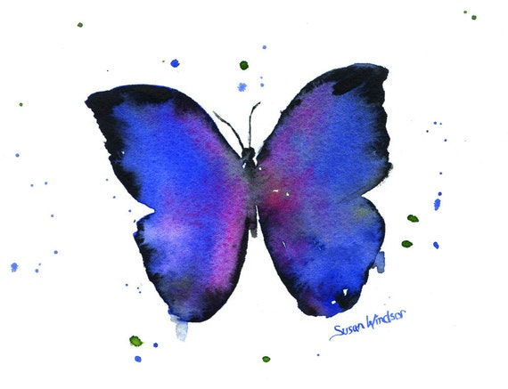 Blue Butterfly Original Watercolor Painting 8x10