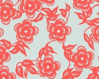 Ty Pennington Home Decorator Weight Fabric, Asian Floral in Persimmon, Impressions Collection, 1 Yard