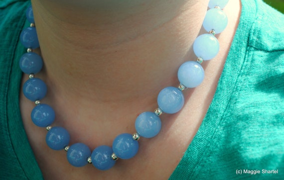 Chunky Periwinkle Blue Jade Necklace in Sterling Silver