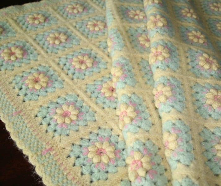 Vintage Wool Baby Blanket Crochet Blanket