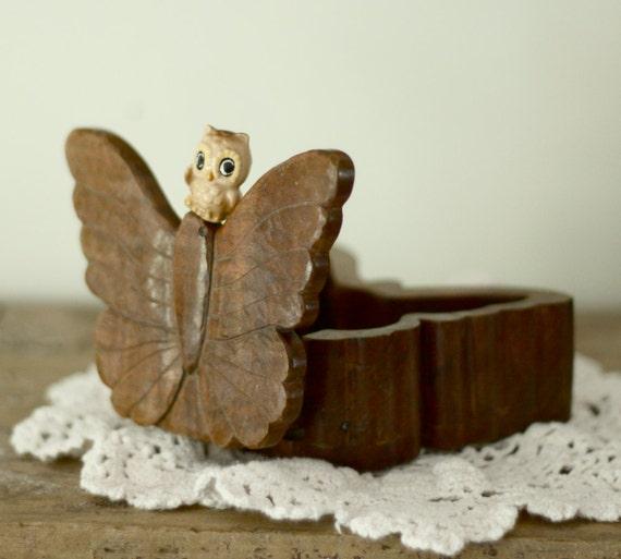 wood butterfly trinket ring box