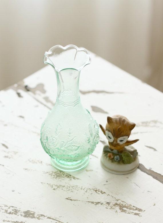 vintage glass bud vase