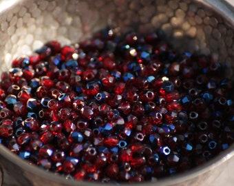 50 pieces of Blue Iris Siam Ruby 3 mm fire polished czech glass beads (CZ03-90)
