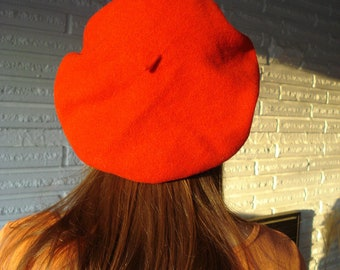 80s Basque Beret Red Wool Hat Parkhurst Beret