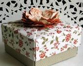 Origami Box  Handmade  3 x 3  Crazy Cajun Flower