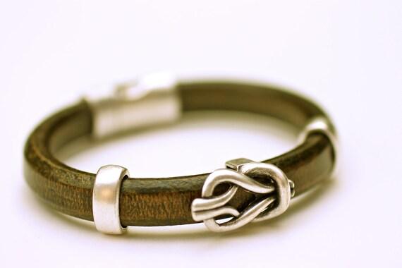 Olive Leather Bangle Silver Love Knot Heavy Unisex Bracelet Amy FIne Design