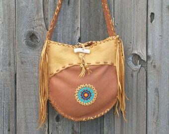 Beaded leather handbag, Custom handbag with beadwork and fringe, Leather handbag with fringe , Carry all