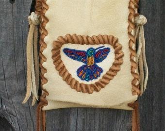 Leather handbag , Beaded leather purse , Beaded hummingbird bag
