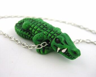 Green Alligator Necklace - Alligator Jewelry - Crocodile Necklace - Crocodile Jewelry - Miniature Polymer Clay Animal Necklace