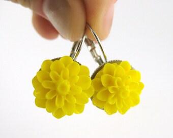 Sunny Yellow Flower Earrings - Yellow Jewelry Cabochon Flower Earrings