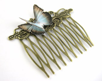 Womens Hair Combs For Her - Butterfly Hair Comb Clip - Decorative Hair Comb - Gold Golden Vintage Victorian Hair Piece - Art Deco Hair Piece