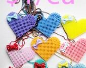 Kawaii Cute Fairy Kei Magical Sugary Sweet Pop Candy Heart Perler Heart Necklaces for 1