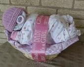 Deluxe Girl Napping Baby Basket(TM) in purple and pink
