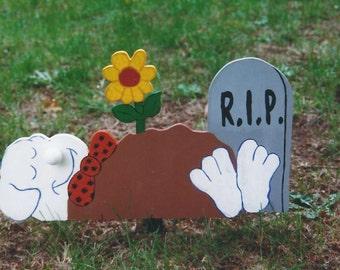 Handmade Halloween RIP ghost yard stake