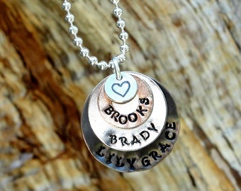 Mixed metal hand stamped Mothers necklace 1 to 3 names!