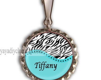 Kids Party Favors, Blue Zebra Print Backpack Zipper Pull Charm,Personalized Zipper Pulls, Lunch box Name Tag