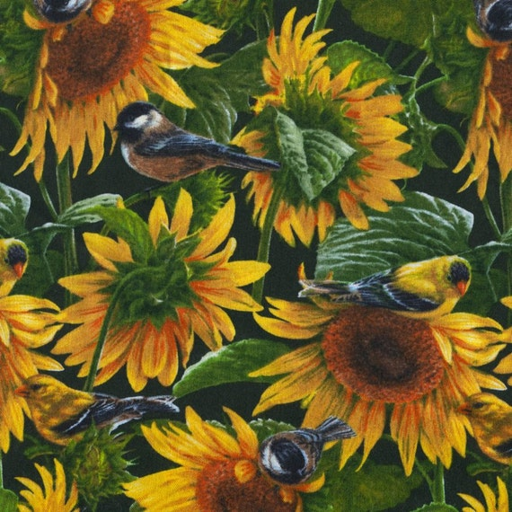 Sunflowers and Birds - Wild Wings - 1 yard - Last Available