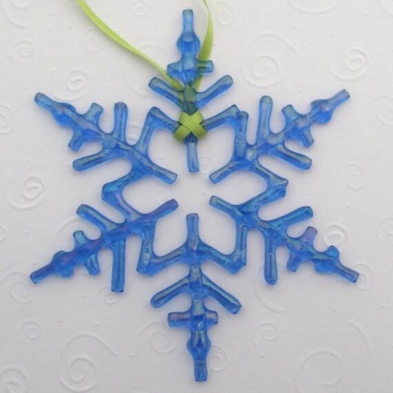 Fused Glass Snowflake Ornament Suncatcher - Arctic Blue Iridescent - One Of A Kind - Petite