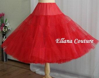 Tea Length Crinoline. Red MEGA Fullness Petticoat. Available in Other Colors.