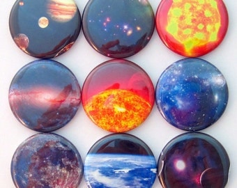 Magnets - Space - Set of Nine 1.25 Inch Button Magnets Packaged in a Custom Box