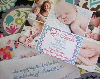 Two sided, Multiple Picture Birth Announcement