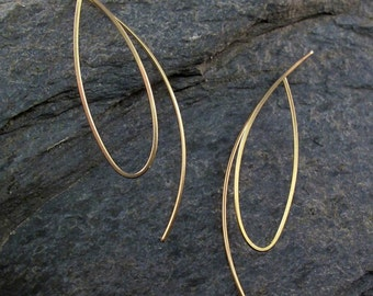 ROSE GOLD earrings. yellow gold earrings .14k gold filled. LONG wire hoop contemporary . lightweight.  argentium sterling No.00E308 g