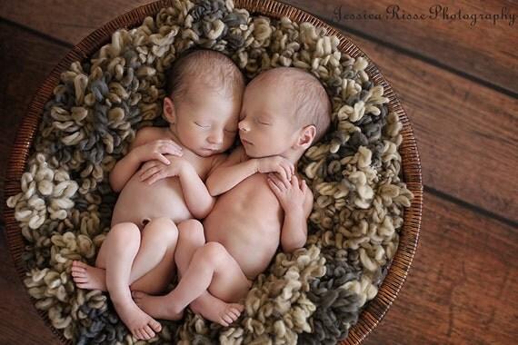 Loopy Brown Tan Baby Blanket Photo Prop in Baby Bear colors