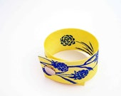 Hand painted cuff with blue flowers