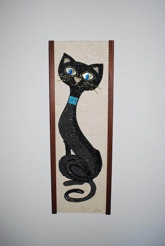 Vintage 1960's Retro Gravel Art Black Siamese Cat with Aqua Collar Wall Art