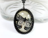 Butterfly Necklace Cabochon Necklace Neo Victorian Jewelry Black Butterfly Pendant Victorian Necklace Glass Cabochon Butterfly Cabochon