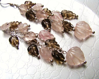 Cascade Earrings. Rose Quartz Topaz Leaves. Pink Brown Stones. Sterling silver
