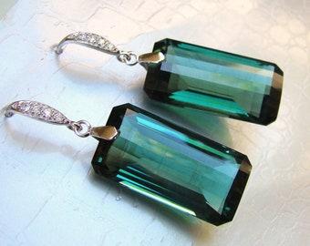 Custom Sale Luxury Green Amethyst Gold pave posts Earrings