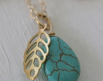 feather necklace, Turquoise necklace, gold leaf necklace, gold necklace, turquoise drop, gold and turquoise, layering necklace